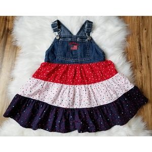 Oshkosh Patriotic Overalls Jean Dress